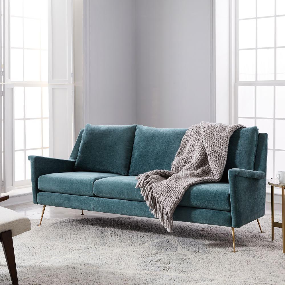 carlo mid century sofa 197 cm dusty teal distressed velvet west elm uk. Black Bedroom Furniture Sets. Home Design Ideas