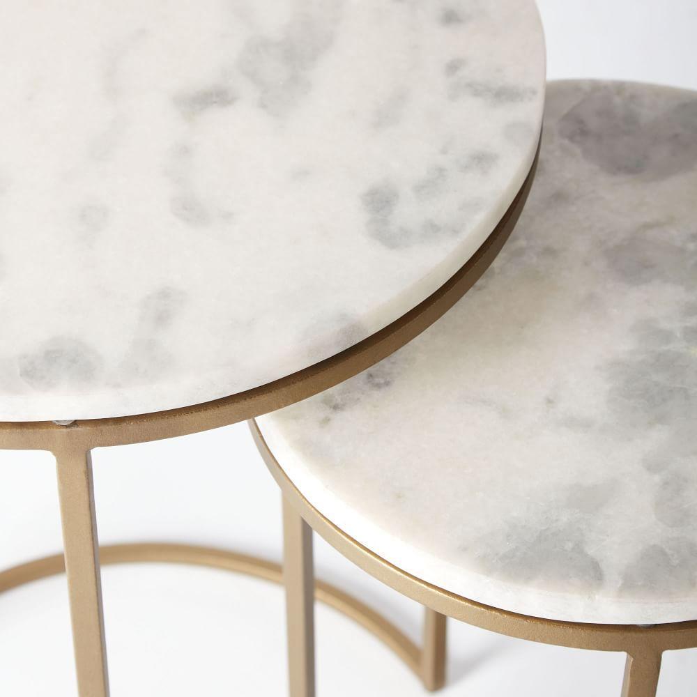 Round White Capiz Coffee Table: Round Nesting Side Tables Set