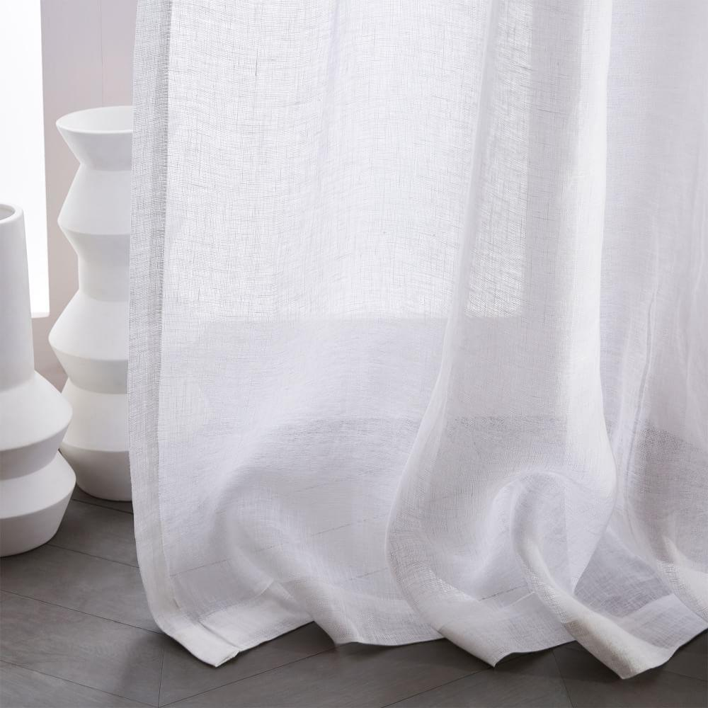 Sheer Belgian Flax Linen Curtain White West Elm Uk