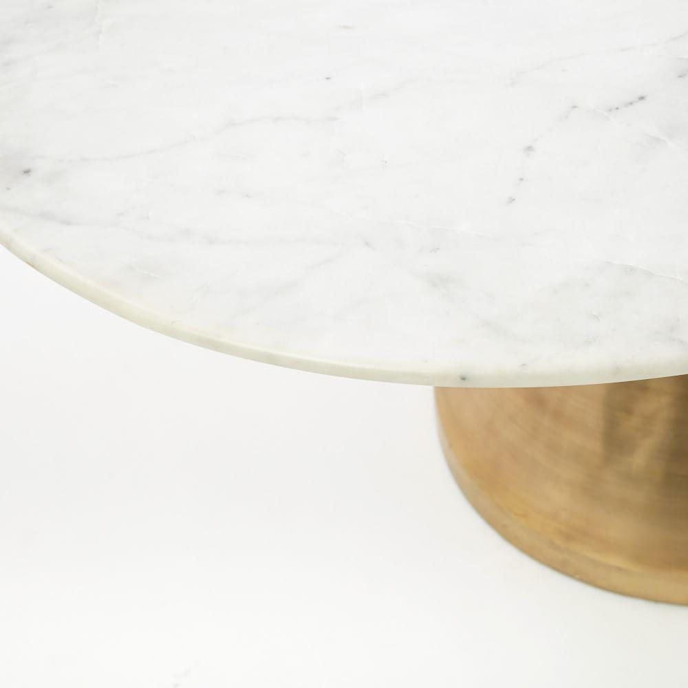 Silhouette Pedestal Dining Table - Oval (White Marble)