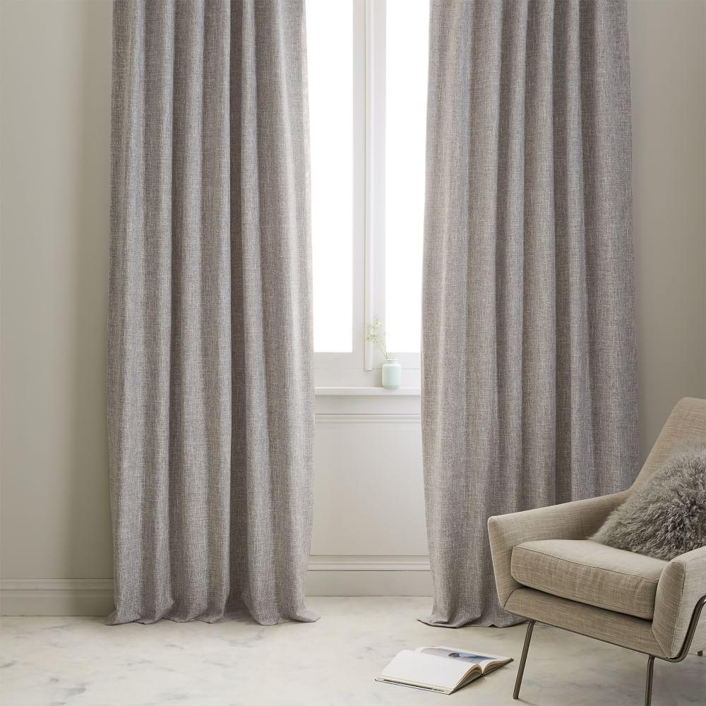 Crossweave Curtain + Blackout Lining - Stone White