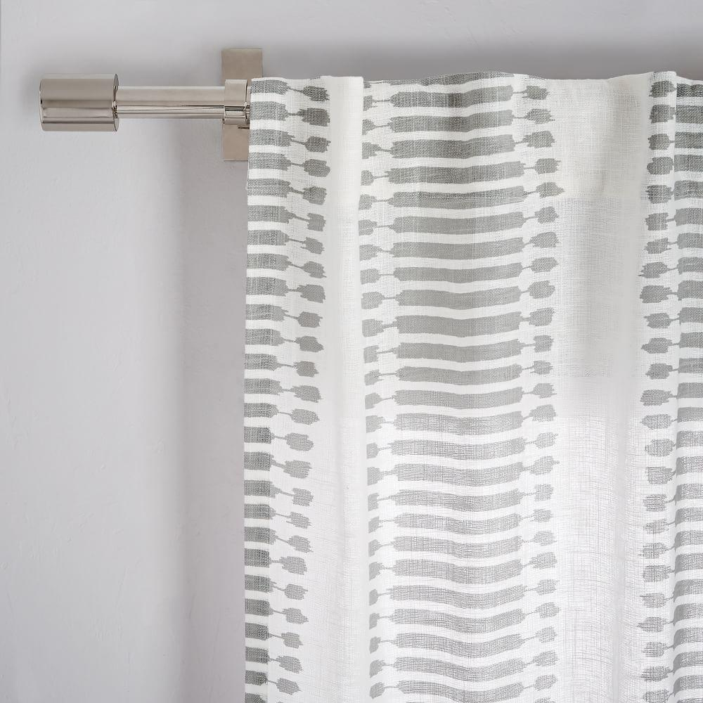 Striped Ikat Curtain Platinum West Elm Uk