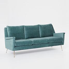 Carlo Mid-Century Sofa (197 cm) - Dusty Teal (Worn Velvet)
