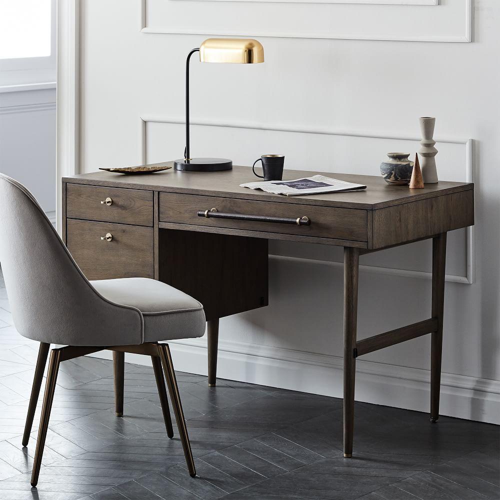 mid century swivel office chair velvet west elm uk. Black Bedroom Furniture Sets. Home Design Ideas