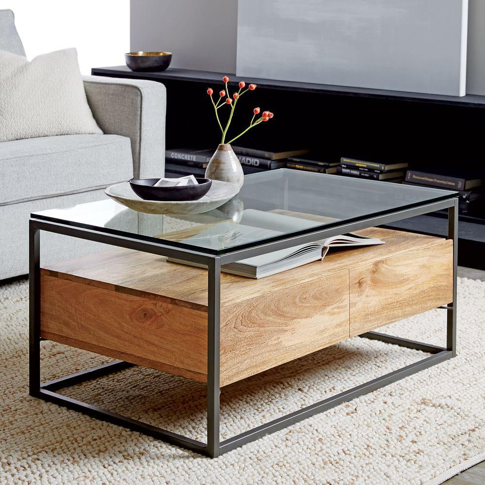 Box frame storage coffee table west elm uk Console coffee table