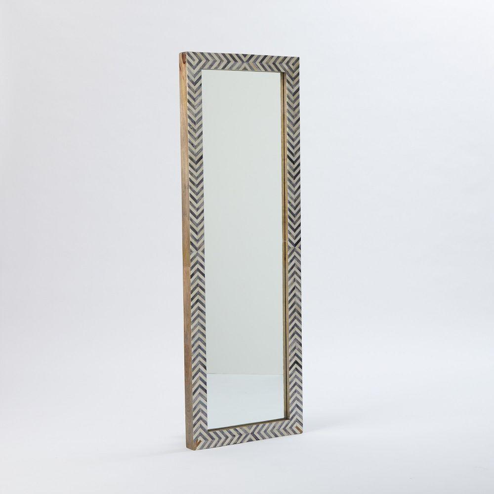 Parsons Floor Mirror Grey Herringbone