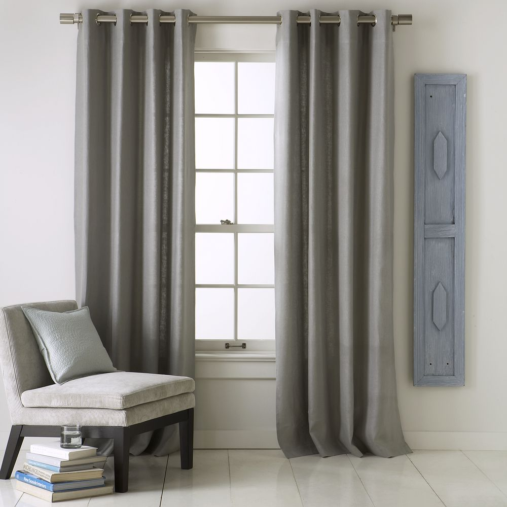 Linen Cotton Grommet Curtain Platinum
