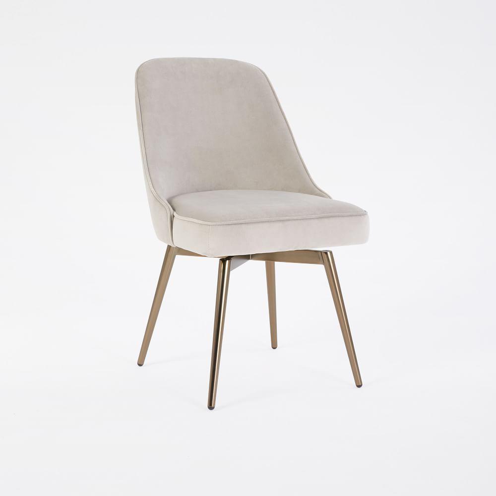 Mid Century Swivel Office Chair Velvet West Elm Uk