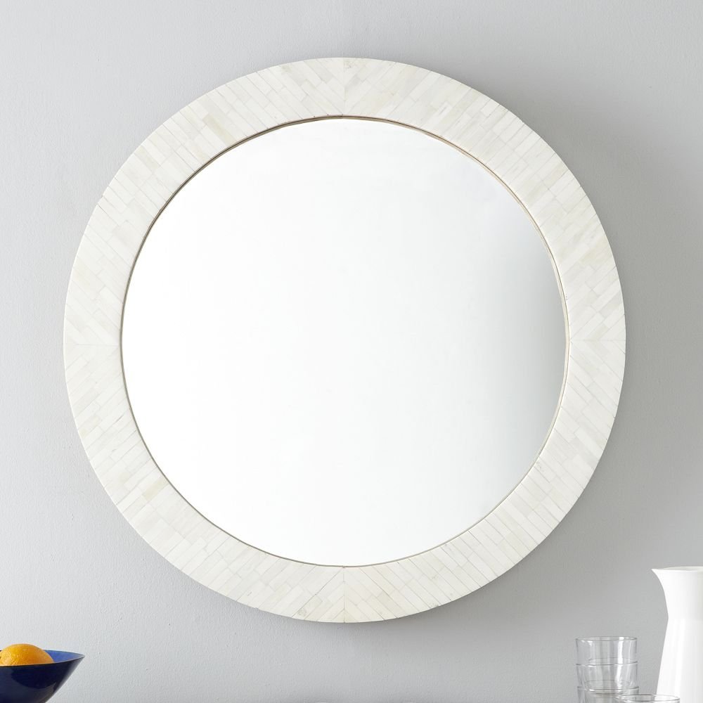 Parsons round mirror bone inlay west elm uk Round framed mirror