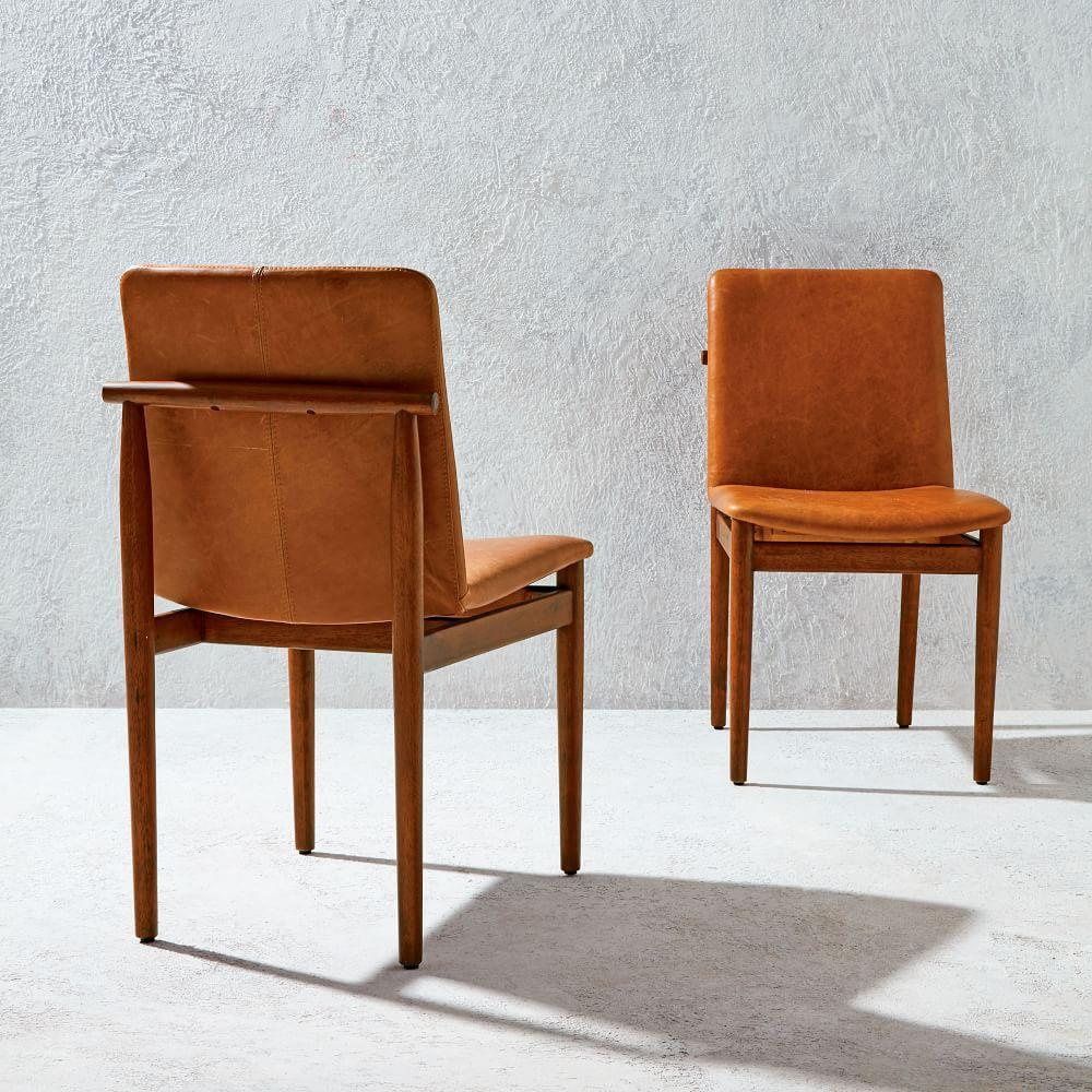 Framework Leather Dining Chair West Elm UK - Leather dining chairs uk