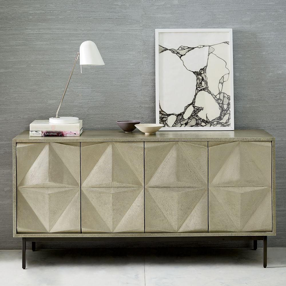 Brass Clad Sculpted Geo Sideboard West Elm Uk