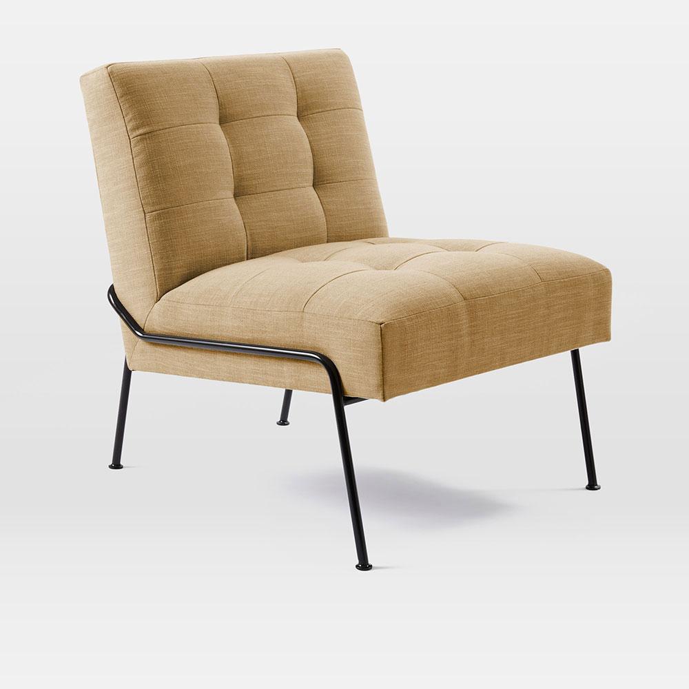 Blue tufted slipper chair -  Oswald Tufted Slipper Chair Horseradish