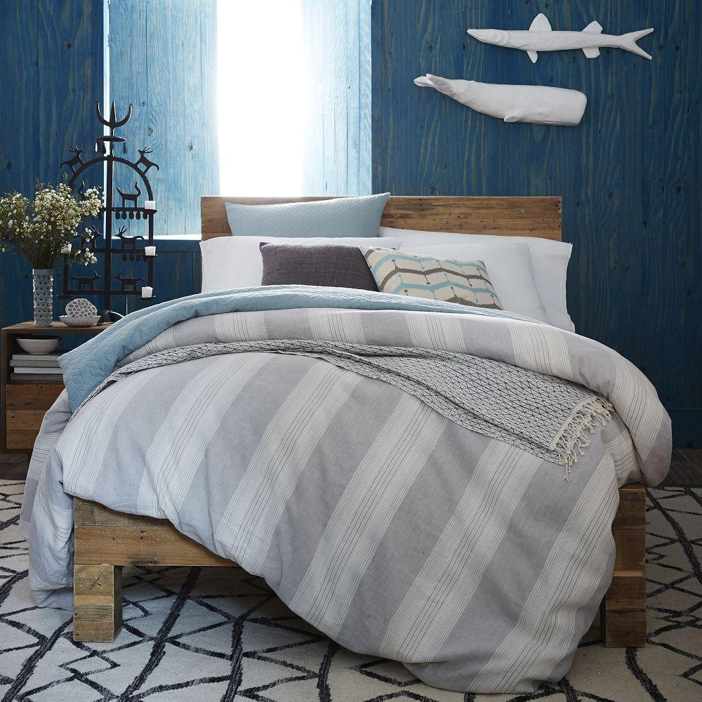 Coastal Stripe Duvet Cover Pillowcases Frost Grey