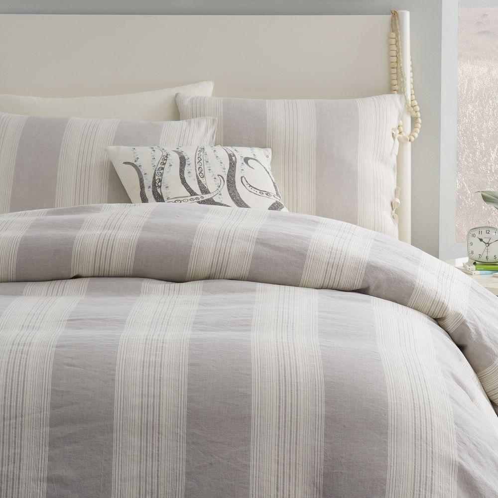 Decorated with thin stripes of gray and white, the Coleridge Stripe Duvet with Sheet Set by Nautica brings an understated modern feel to your bedroom decor. The craftsmanship is pure cotton with a thread count, creating a soft fabric that can be conveniently cleaned in the washing machine.