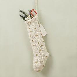 Knit Metallic Thread Starburst Stocking