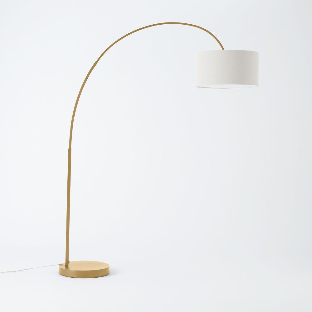 Overarching Linen Shade Floor Lamp - Antique Brass