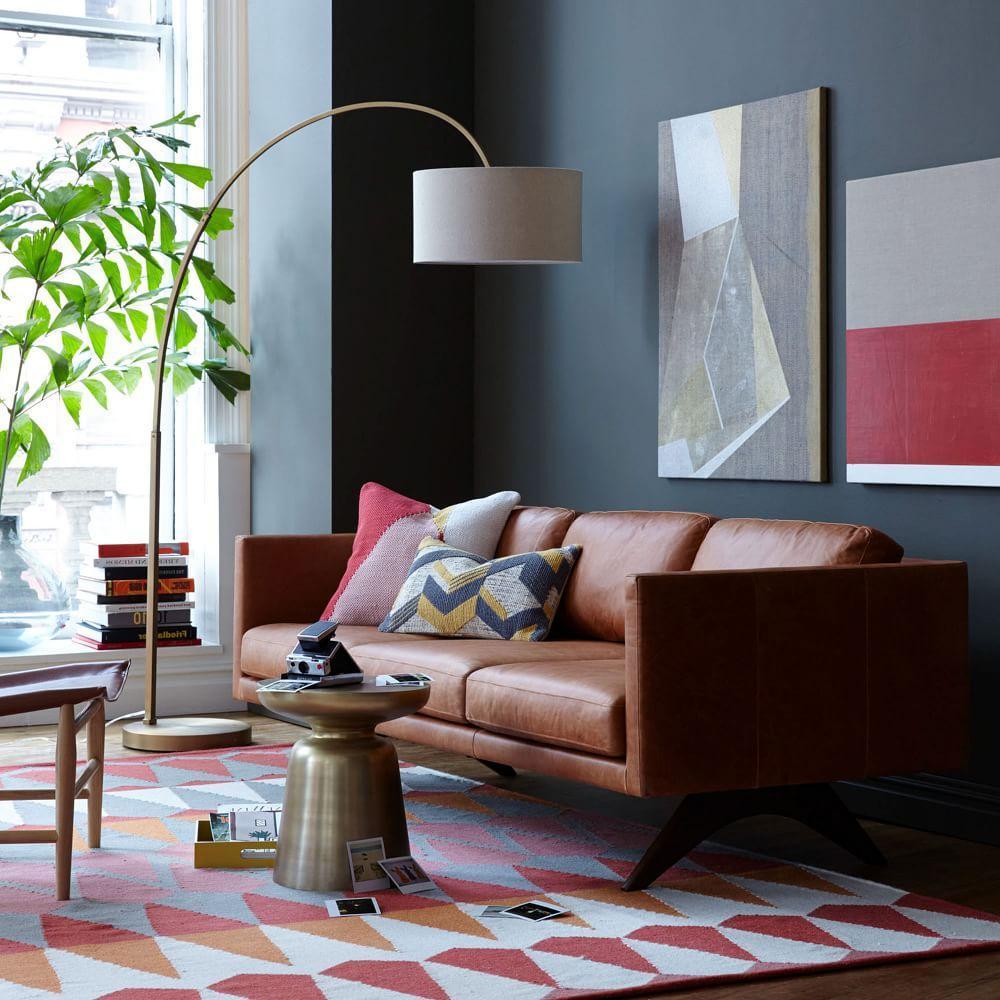 Overarching Linen Shade Floor Lamp Antique Brass West