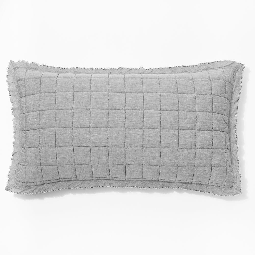 Belgian Flax Linen Melange Bedspread + Pillowcases - Slate