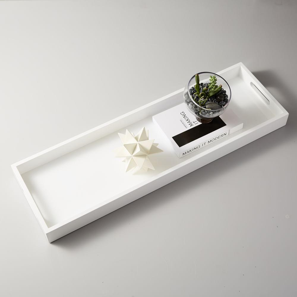 Lacquer Wood Tray, White