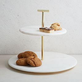 Marble + Brass 2-Tier Cake Stand