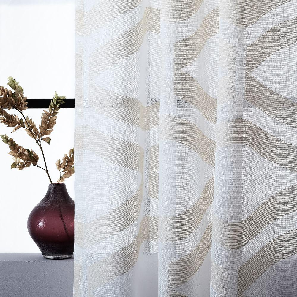 Semi-Sheer Clipped Jacquard Curtain - Ivory