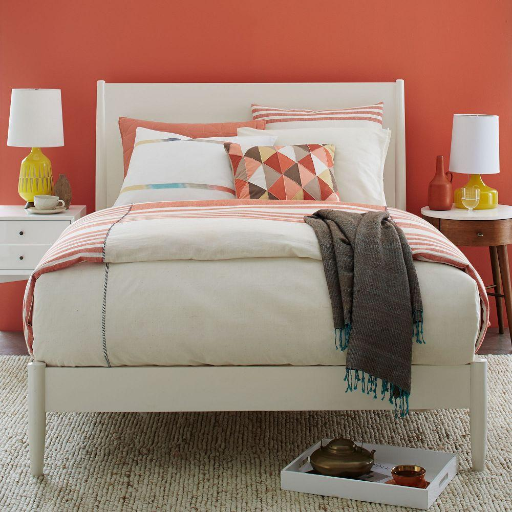 Mid Century Bed Mid Century: Mid-Century Bed - White