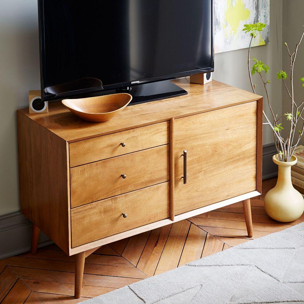 Media Furniture Cabinets: Mid-Century Media Console (102 Cm) - Acorn