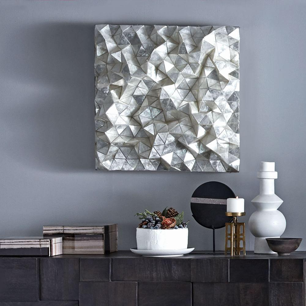Capiz Wall Art, Faceted Square