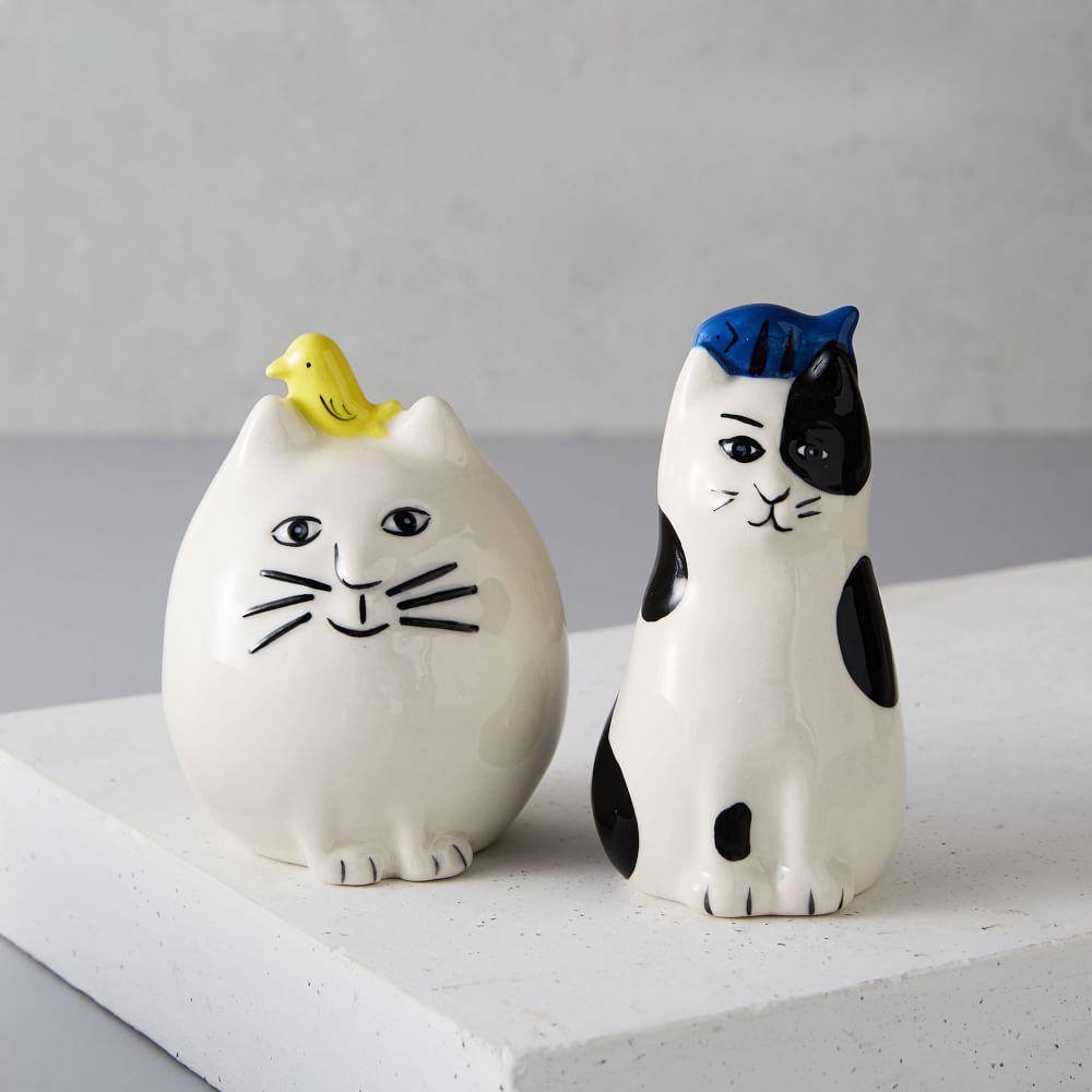 Friendly Cat Salt + Pepper Shaker Set