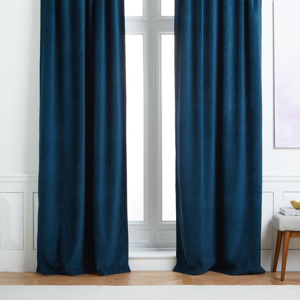 Worn Velvet Curtain + Blackout Lining - Regal Blue