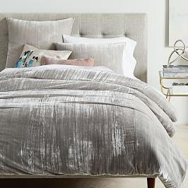 385442ba687ea Crinkle Velvet Duvet Cover + Pillowcases - Platinum ...