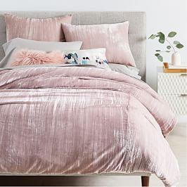 Crinkle Velvet Duvet Cover + Pillowcases - Dusty Blush