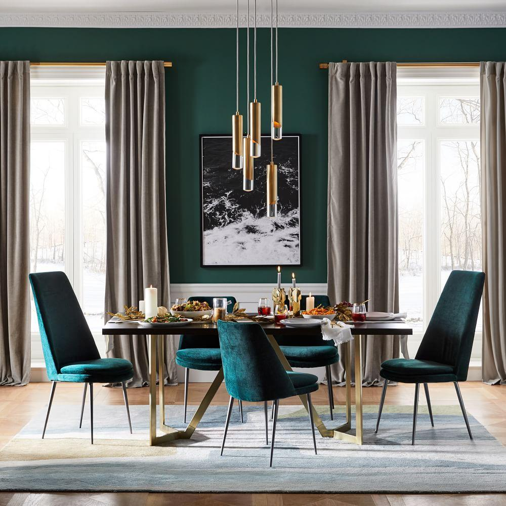Low Back Dining Room Chairs Finley Low Back Velvet Dining Chair West Elm Uk
