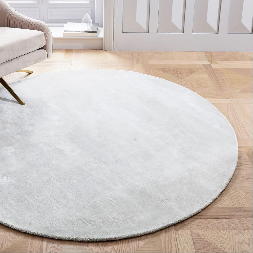 Lucent Round Rug Frost Grey West Elm Uk