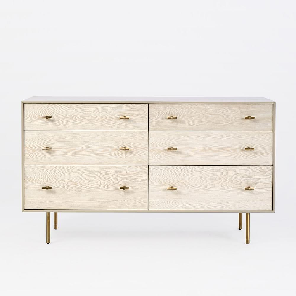 Modernist Wood + Lacquer 6-Drawer Chest, Winter Wood
