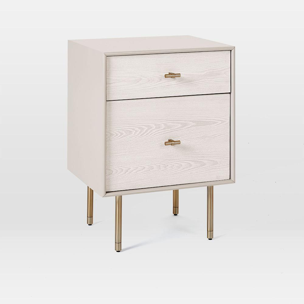 Modernist Wood + Lacquer Bedside Table, Winter Wood