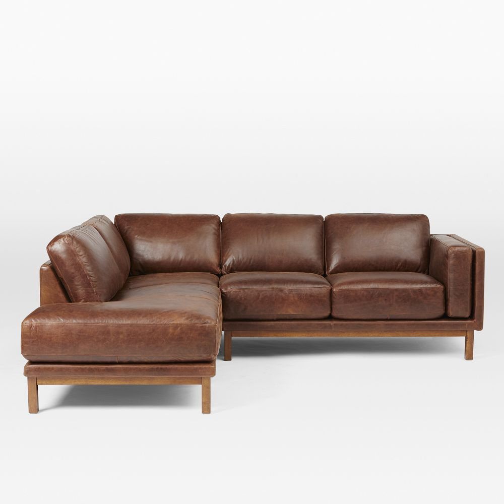 Dekalb 3 piece premium leather chaise sectional for 3 piece chaise sectional