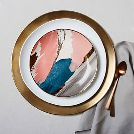 Abstract Brushstroke Salad Plate