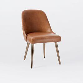 Mid-Century Leather Dining Chair - Saddle/Blackened Brass