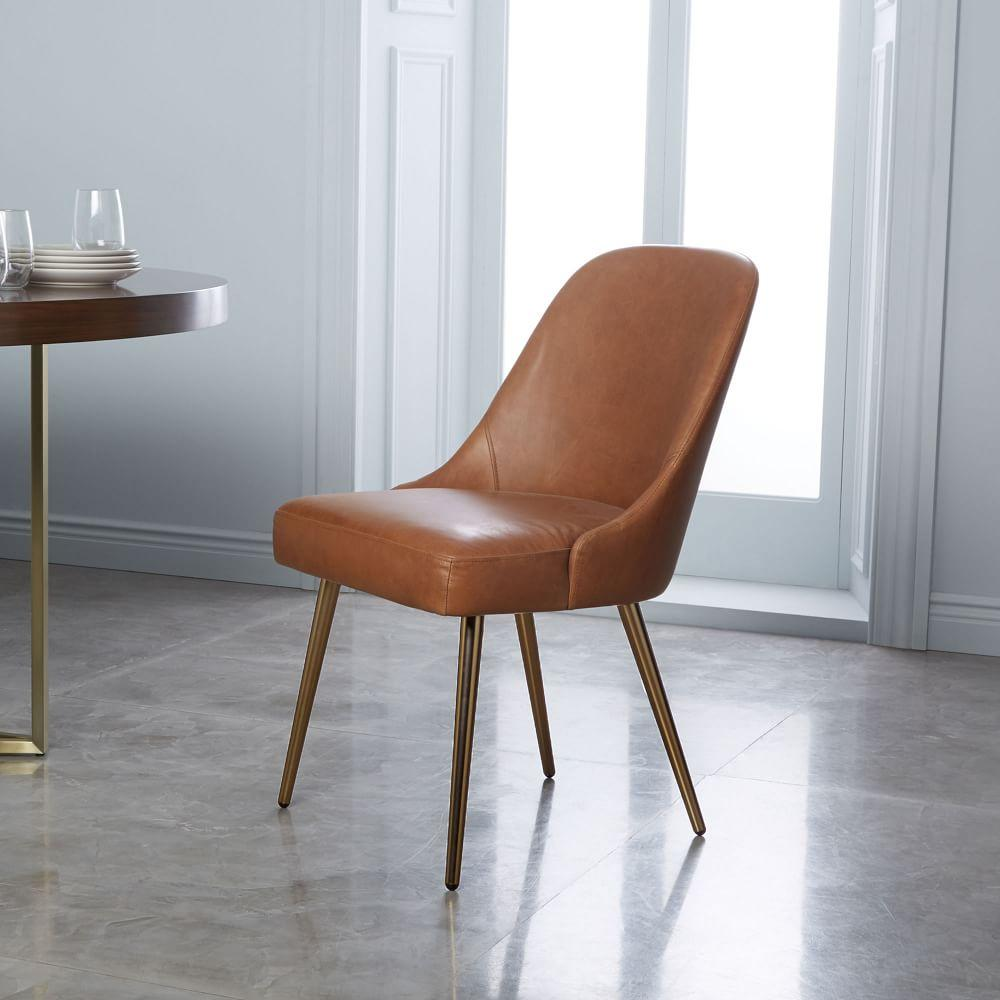 Mid-Century Leather Dining Chair - Saddle/Blackened Brass ...