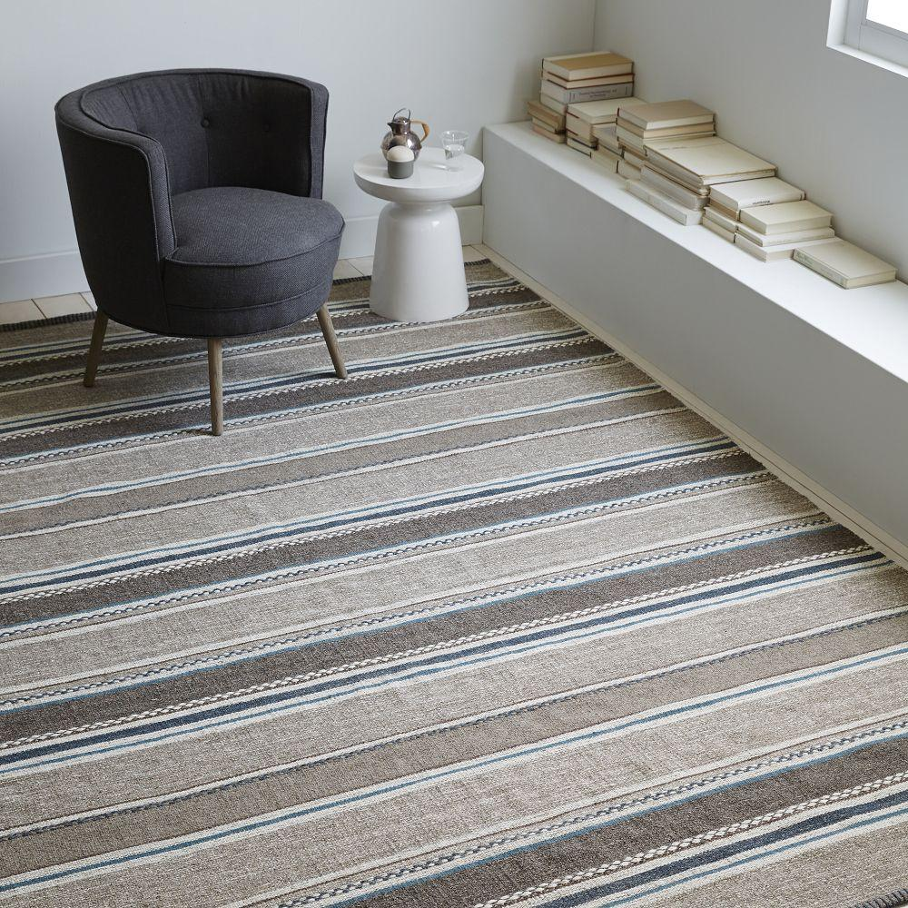 Steven Alan Textured Stripe Dhurrie Rug Heather Gray Sea