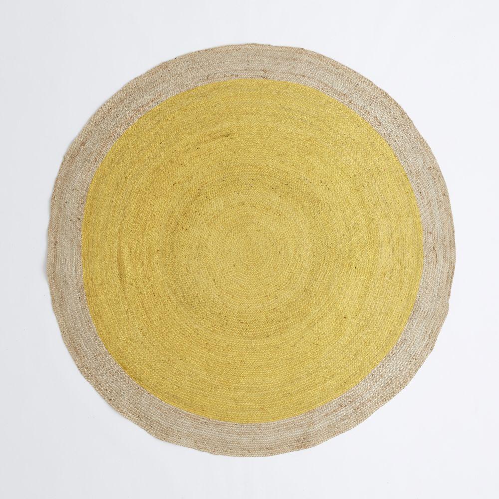 Bordered Round Jute Rug Horseradish West Elm Uk