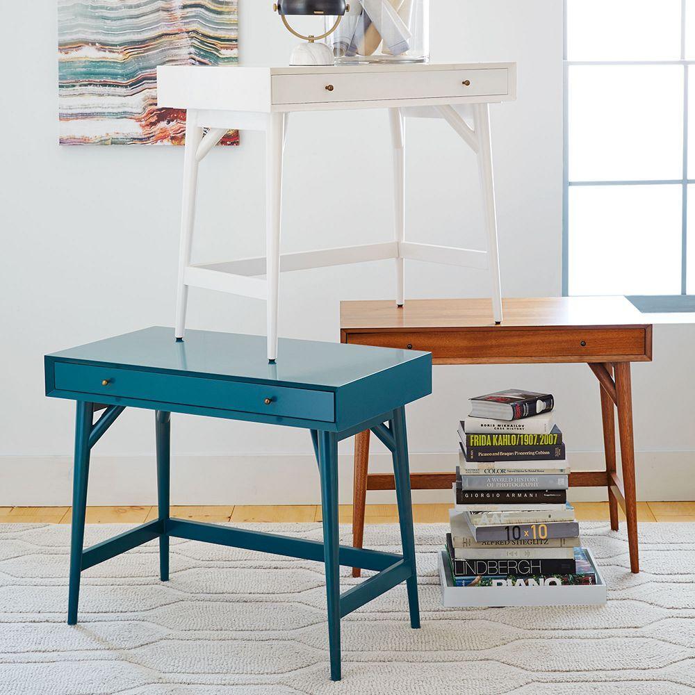Mid Century Mini Desk White West Elm Uk