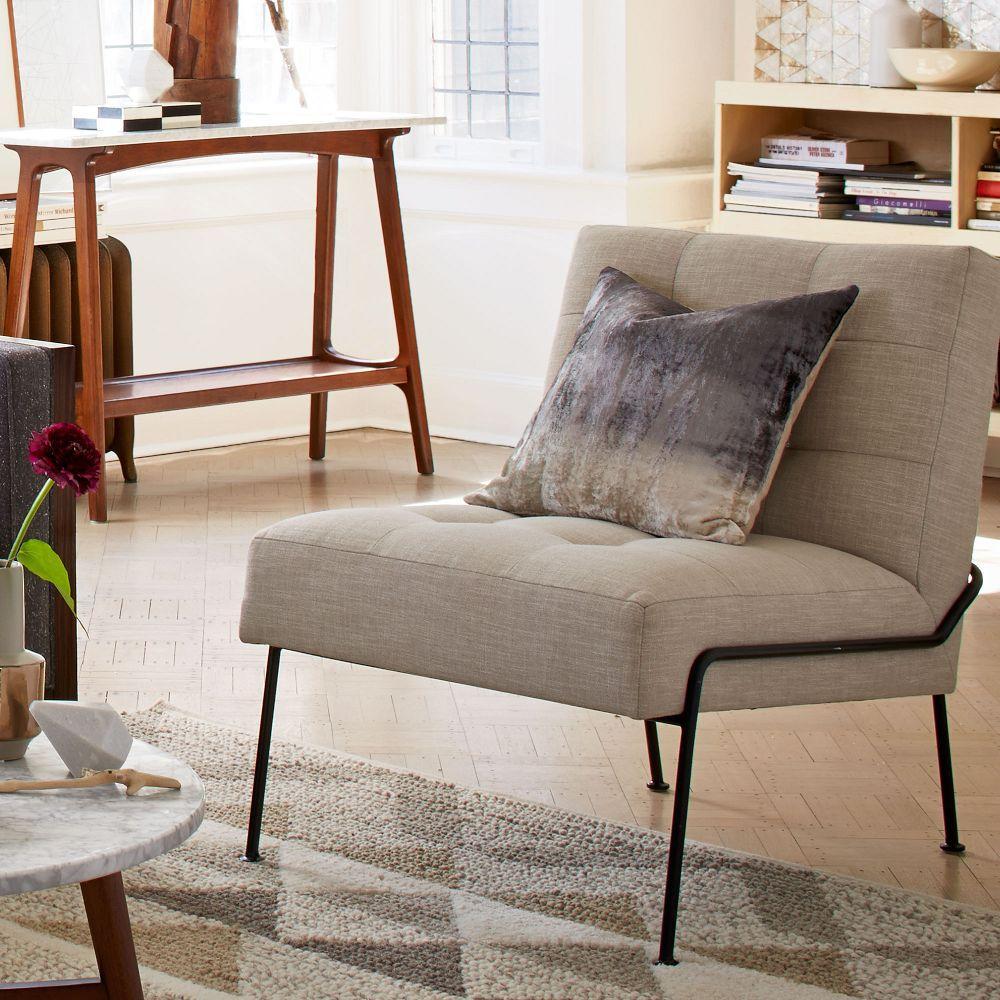 Blue tufted slipper chair - Oswald Tufted Slipper Chair