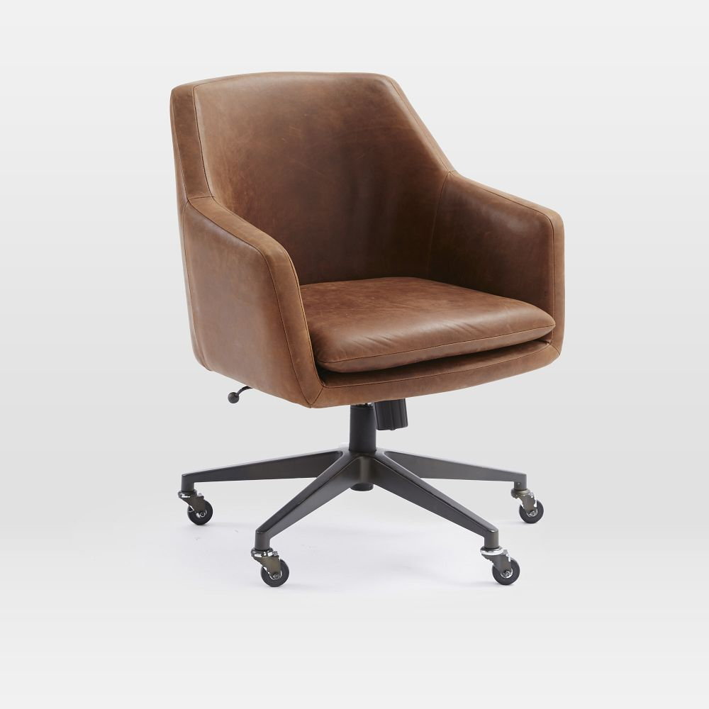 Helvetica leather office chair west elm uk for Home office chairs leather