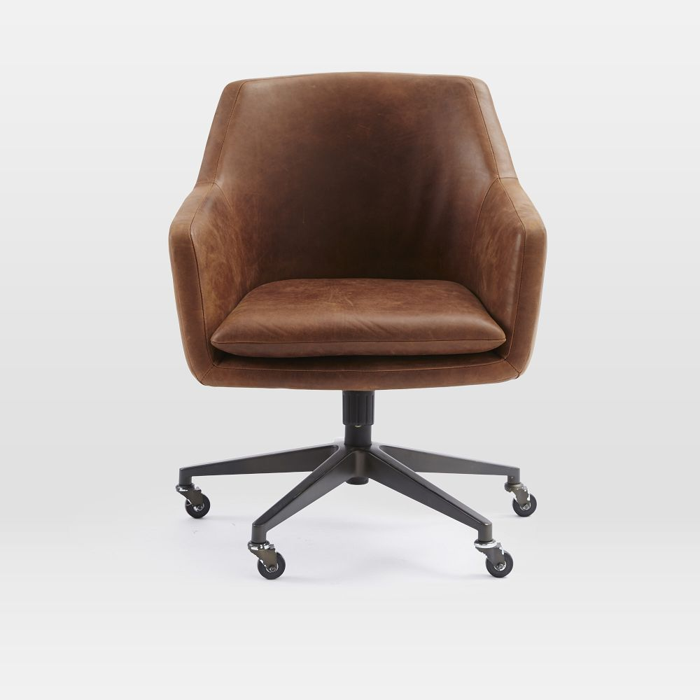 helvetica leather office chair west elm uk