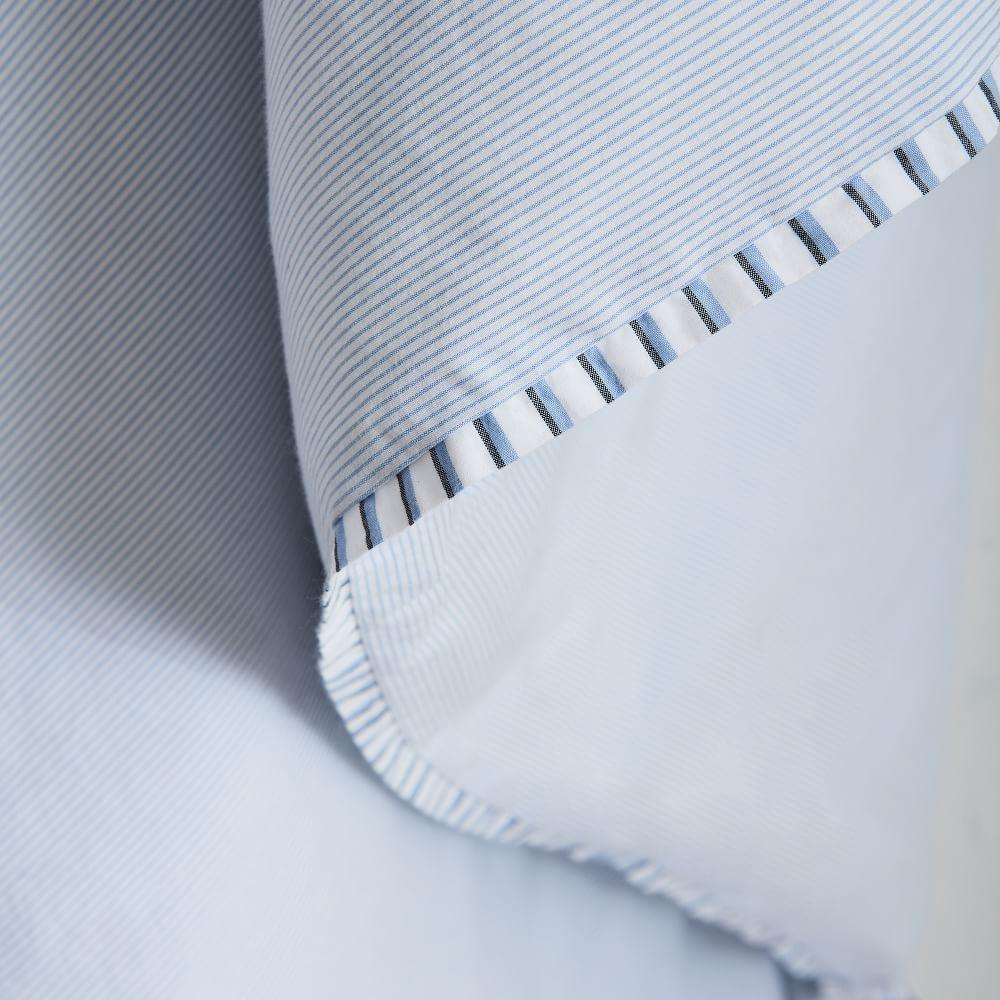 Organic Washed Cotton Stripe Duvet Cover + Pillowcases - Kyoto Blue