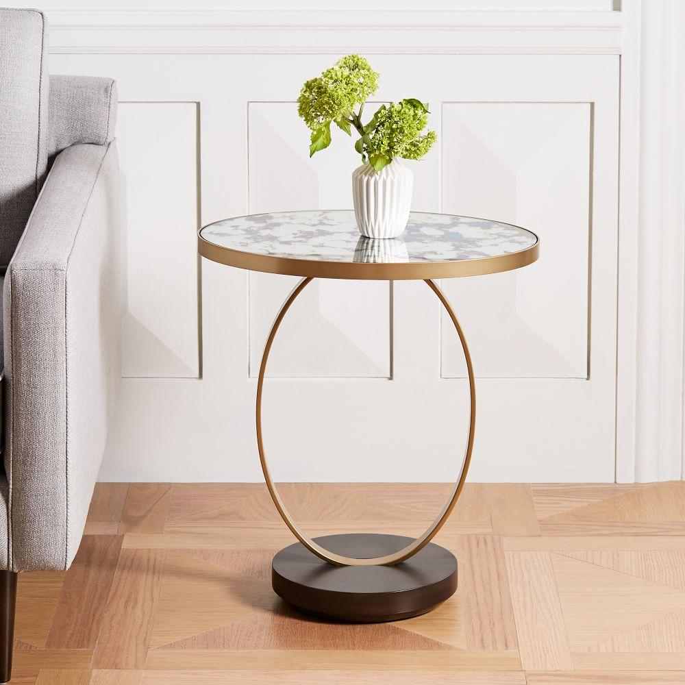 forest products co the original table mirrored glass champagne side