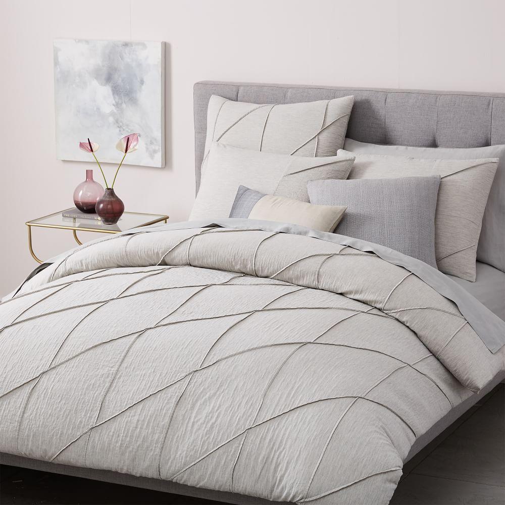 Organic Pleated Grid Duvet Cover Pillowcases Light