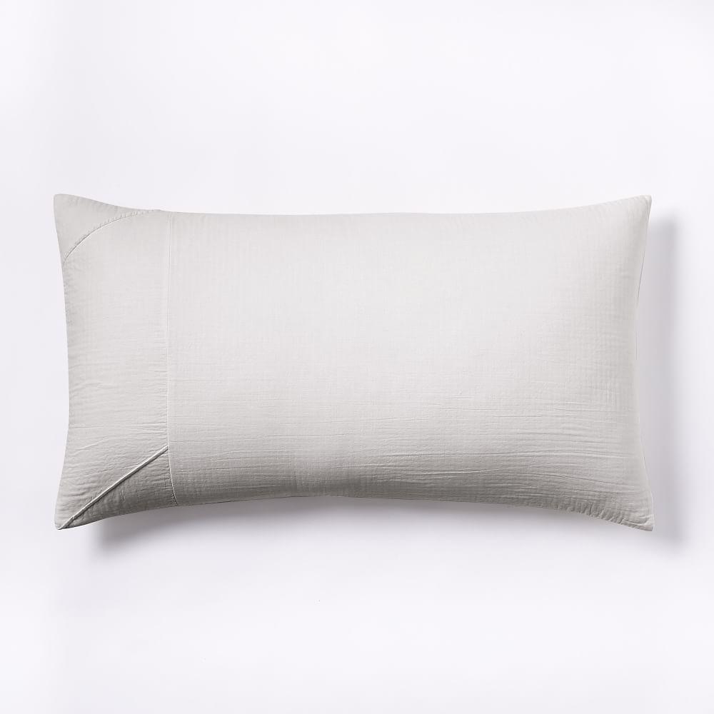 Organic Pleated Grid Duvet Cover + Pillowcases - Light Grey